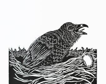 Nesting | relief carving | linoleum block print on paper