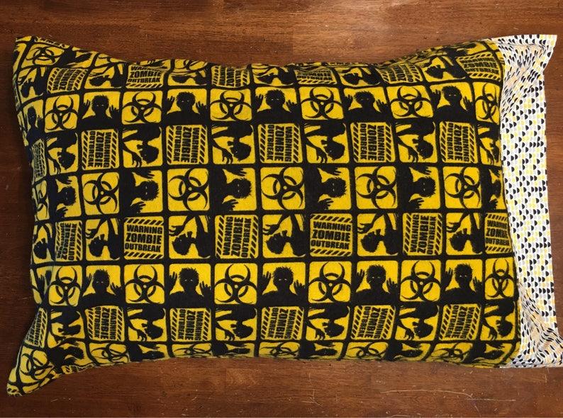 zombies bedding pillow Zombie Outbreak themed pillowcase yellow /& black