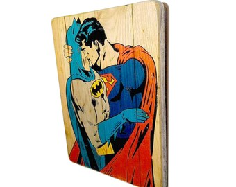 9c9afd89d81 Superman gay print - gay kiss - gift for gay men - Superman Batman poster