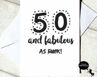 Nice 50th Birthday Card | Funny Birthday Card, Rude Birthday Card, Card For Her,