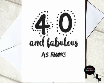 40th Birthday Card | Funny Birthday Card, Rude Birthday Card, Card For Her,  Cards For Best Friend, Swear Word Card, Fabulous Card, Mature