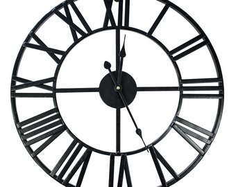 metal wall clock etsy 1970s Bedroom industrial metal wall clock skeleton clock 50 cm for loft interiors