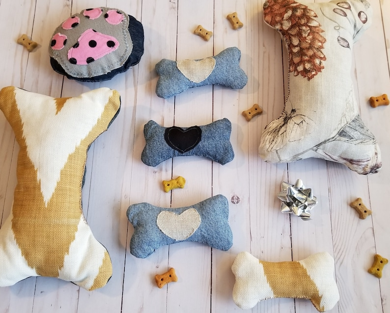 Bone Shaped Squeak Toy Big Dog Toys Large Squeak Toy Upholstery Pillow Squeak Toy Dog Lovers Dog Party Ready to Ship