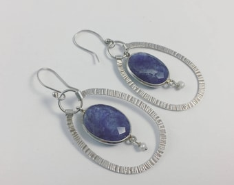 Hammered Sodalite Earrings