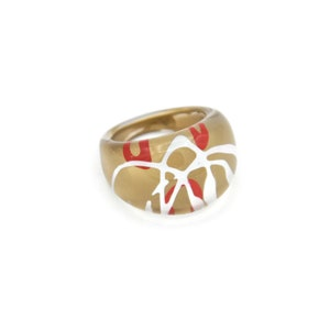 Reverse Painted Resin Statement Ring Vintage Lucite Bubble Ring