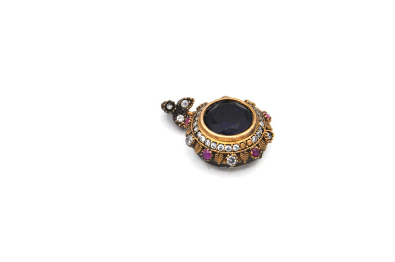 Ottoman Jewelry Set; Earrings and Pendant with Blue Stone