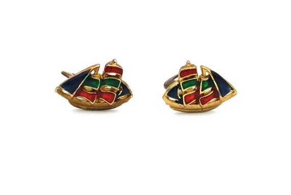 1950's Novelty Earrings, Vintage Enamel Sailboat E