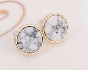 marble effect stud earrings Round marble earrings hand painted marble earrings