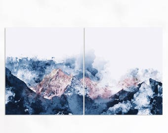 Abstract Mountain Watercolor Wall Art, Poster Print, Wall Art Hanging, Framed Canvas, Modern Art, Poster, Decoration, Hanging Canvas, Paint