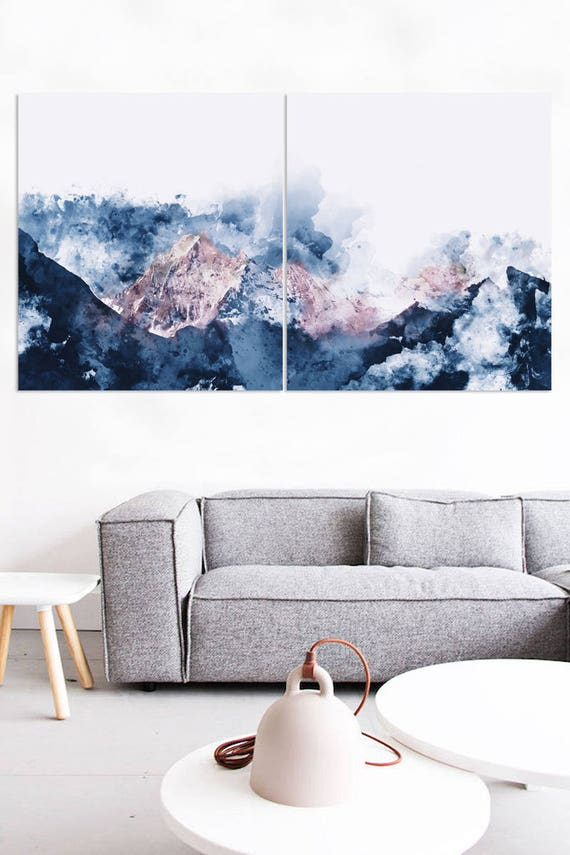 Abstract Mountain Watercolor Wall Art Poster Print Wall Art Hanging Framed Canvas Modern Art Poster Decoration Hanging Canvas Paint