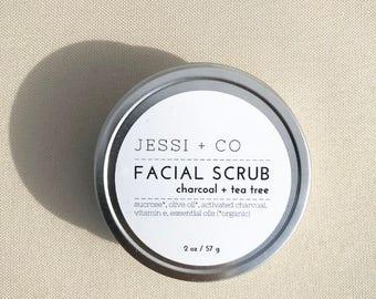Charcoal + Tea Tree Facial Scrub - 2 oz - sugar scrub, activated charcoal, tea tree, face scrub, acne