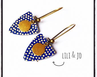 Navy Blue pair of earrings shield and gold