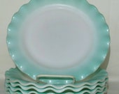 Vintage Hazel Atlas Turquoise Crinoline Plates SET OF 6- 9 quot Ripple Dinner Lunch Salad Plates