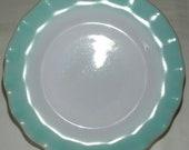 Vintage Hazel Atlas Turquoise Crinoline Ripple Plates 7 quot SET OF 5 Bread Sandwich Dessert In Excellent Vintage Condition