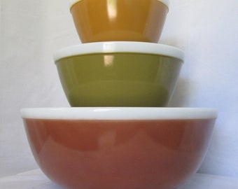 Vintage Pyrex Americana Fall Colors 404 402 401 Nesting Mixing Bowls Brown Green Gold White Stripe Autumn Colors