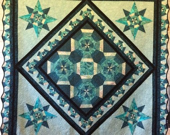 Teal wall art/ quilted wall hanging/throw