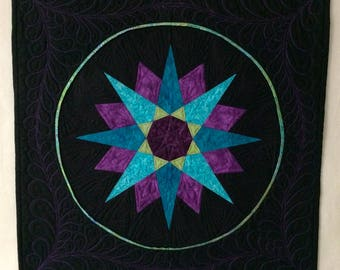 Mariner's Compass quilted wall art