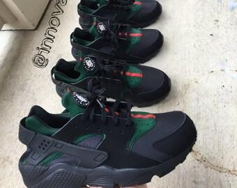 Nike Air Huaraches Gucci Design Black Shoes