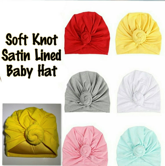 Satin Baby Bonnet Hat Baby Turban Satin Lined Turban  01b9e1e1d7f