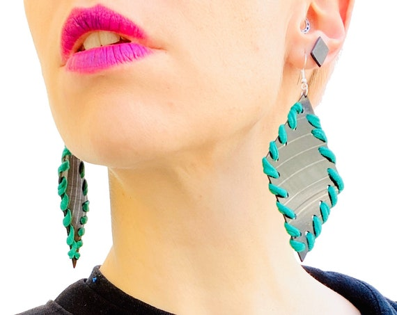 'Wrapped' earrings, ZERO WASTE COLLAB with Aesthetic Laundry, vinyl record jewellery