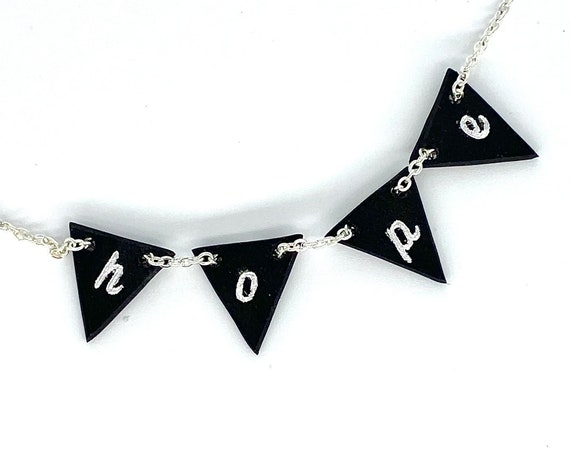 Mini bunting necklace, upcycled vinyl records, hope word necklace, unusual eco gift