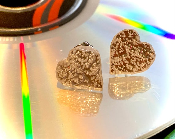 Upcycled CD Heart Stud Earrings, handmade to order valentines gift, perfect romantic gift for the music loving eco warrior in your life.