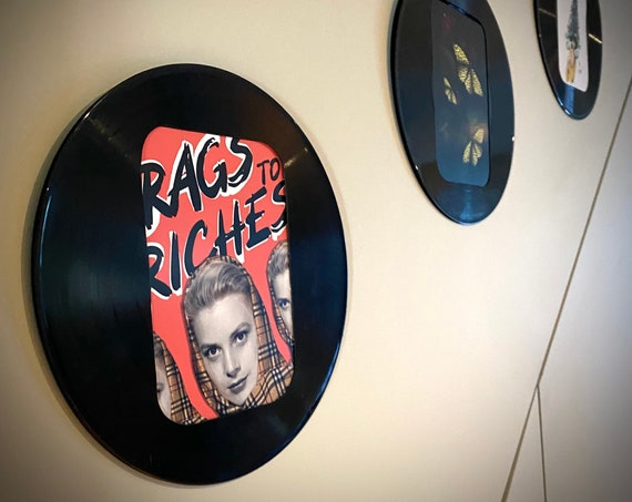 Vinyl Record Frame A5, upcycled record frame, music lover gift, wall hanging, slide in frame