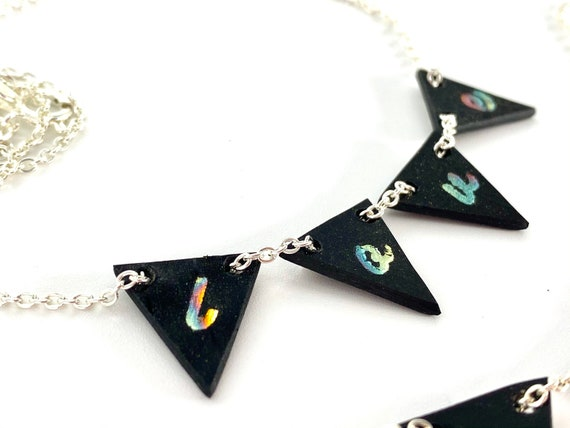 Mini bunting necklace, upcycled vinyl records, love word necklace, unusual eco gift
