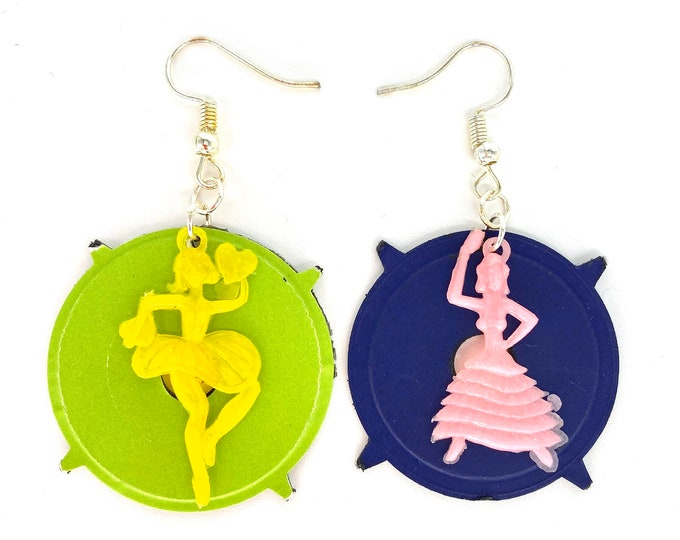 Statement Earrings Upcycled Vinyl Record - Nothing New by Ruthie Ru