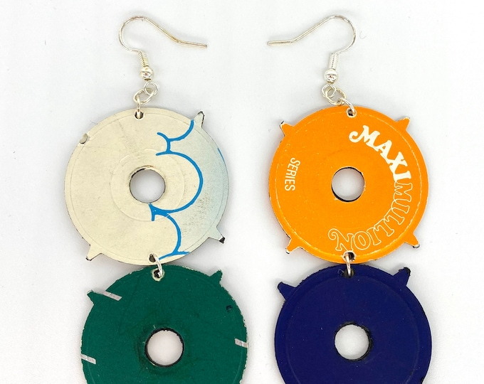 Upcycled Vinyl Record Statement Earrings - Nothing New by Ruthie Ru