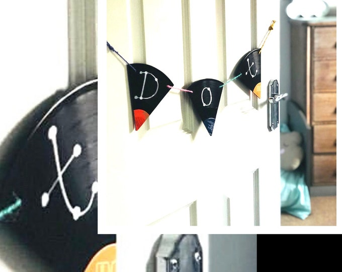 Vinyl Record Bunting, Eco Friendly Custom Bunting - unusual upcycled bunting for eco concious music lovers - price per letter