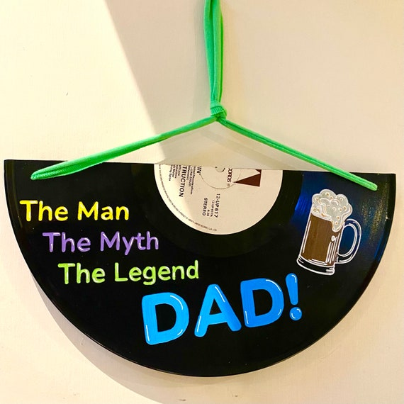 Vinyl Record Fathers Day Dad Signs - unusual upcycled for eco conscious music lover, Best Dad gift - fully Customisable
