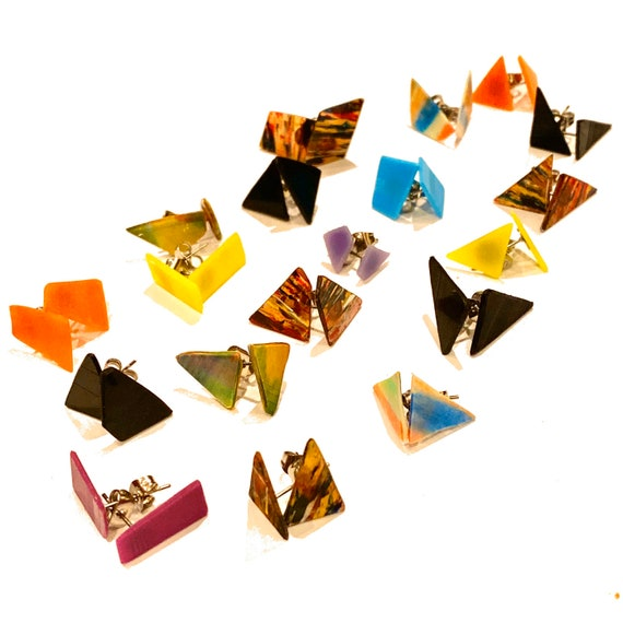 Upcycled Vinyl Record Studs - made to order - Nothing New by Ruthie Ru