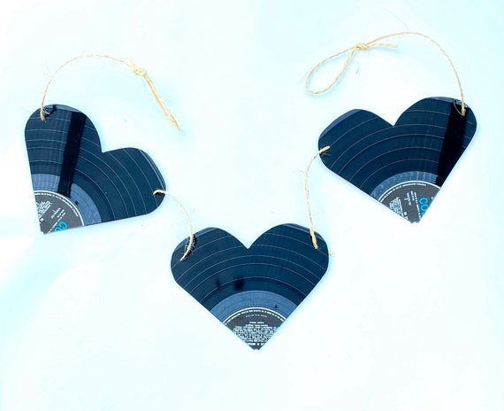 Upcycled Vinyl Record Heart Bunting 'Love You Three'- Nothing New by Ruthie Ru