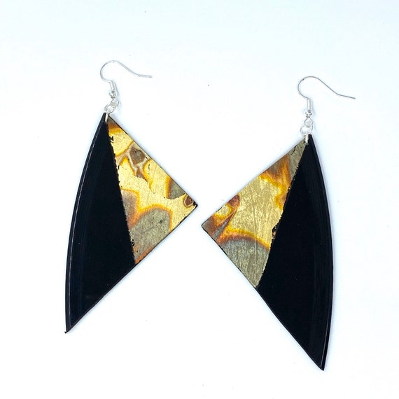 Bold earrings, Upcycled Vinyl Record