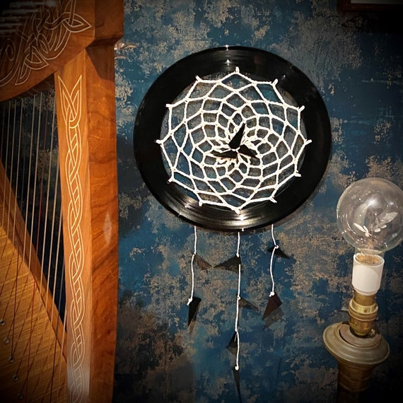 Customisable Vinyl Record Crochet Dream Catcher, upcycled wall art