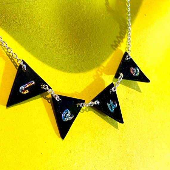 Mini bunting necklace, upcycled vinyl records, love, hope, mum, unusual eco gift