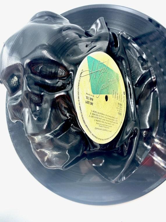 Vinyl Record Skull Art, 3D abstract art wall hanging black skull, Hotel California, Eagles