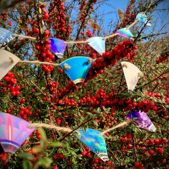 Upcycled CD Mini Bunting - unusual Christmas garland decorations, eclectic decor for music lover