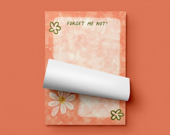 Forget Me Not Memo Pad - notepad, stationary, shopping list, to do list, planner