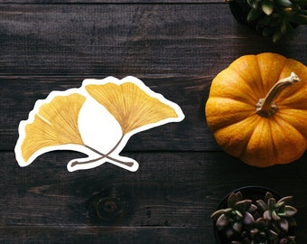 Ginkgo Leaves Watercolor Sticker
