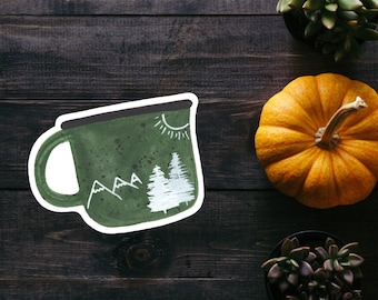 Camp Mug Watercolor Sticker