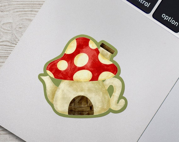 Mushroom Teapot Vinyl Sticker