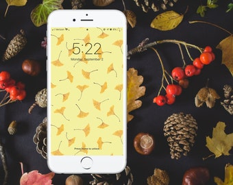 Falling Ginkgo Watercolor Wallpaper - YELLOW