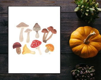 Autumn Foraging Watercolor Print - 8.5x11