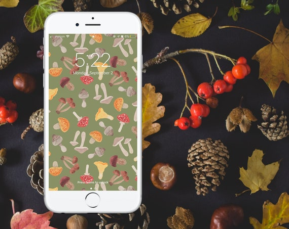 Autumn Foraging Watercolor Wallpaper - GREEN