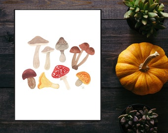 Autumn Foraging Watercolor Print