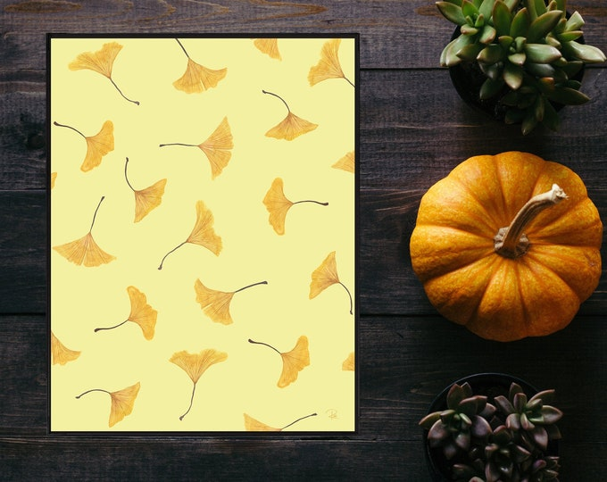 Featured listing image: Falling Ginkgo Watercolor Print - 8.5x11