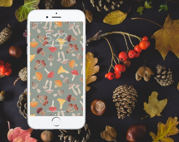 Autumn Foraging Watercolor Wallpaper - GREY