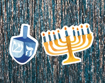 Hanukkah Watercolor Sticker Duo